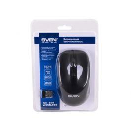 Беспроводная мышь SVEN RX-305 Wireless черная, BlueLED, 3+1(колесо прокрутки), 800/1200/1600 dpi, симметричная