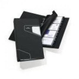 Визитница VISIFIX PRO на 200 визиток, пластик стилизованная обложка, размер 25,5х14,5 см, антрацит