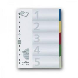Разделитель пластиковый по цветам, 5 разделов, 5 цветов, ф. А4+ 6730-27