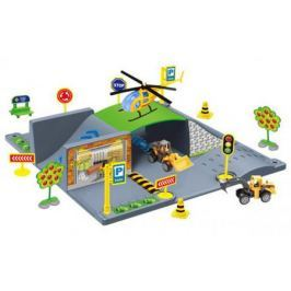Парковка 1toy Стройка, мастаб 1:64, 28 деталей, 2 машины, вертолёт, коробка
