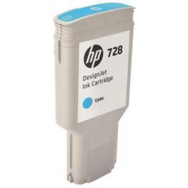 Картридж HP F9K17A (HP 728) для DesignJet T730, T830. Голубой. 300 мл.