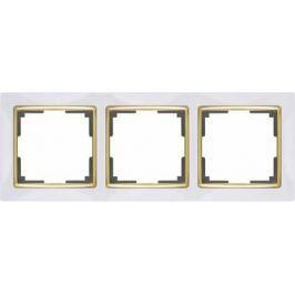 Рамка Snabb на 3 поста белый/золото WL03-Frame-03-white/GD 4690389083921