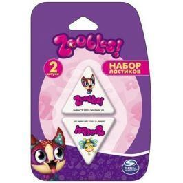 Набор ластиков ACTION! Zoobles треугольные, белые с цветной печатью, блистер, 2 шт.