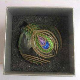 Украшение елочное шар ПАВЛИН, прозрачный, фиолетово-зеленый, 1 шт., 8 см, стекло