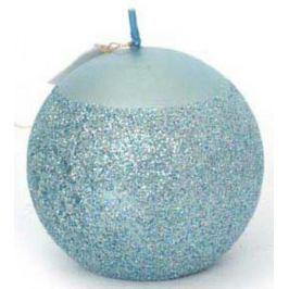 Свеча ШАР с блестящ.крошкой, 1 шт, 6 см, в пакете, голубой