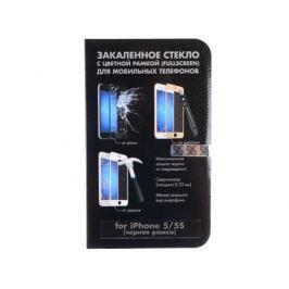 Защитное стекло для Apple iPhone 5/5S с цветной рамкой (black), DF