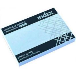 Бумага с липким слоем Index 100 листов 105х75 мм голубой I434802