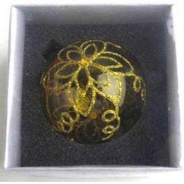 Украшение елочное шар ПАВЛИН, ажурный, золотой, 1 шт., 8 см, стекло