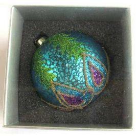 Украшение елочное шар ПАВЛИН, голубой с фиолетовым, 1 шт., 8 см, стекло