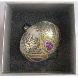 Украшение елочное шар ЛУКОВИЦА ПАВЛИН, серебряный с желтым, 1 шт., 8 см, стекло