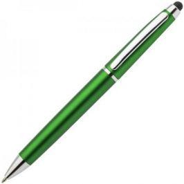 Авторучка шариковая, 1,0 мм, зеленый корпус, хромированные детали, со стилусом, синие чернила