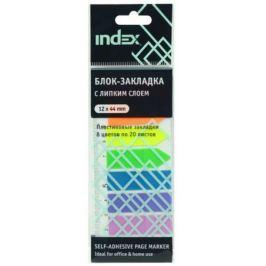 Бумага с липким слоем Index 160 листов 12х44 мм многоцветный