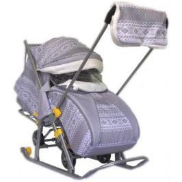 Санки-коляска SNOW GALAXY LUXE Финляндия серая на больших мягких колесах+сумка+муфта
