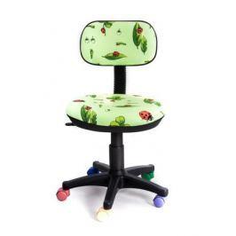 Кресло Recardo Junior D06 (Зеленый-божья коровка, цв. ролики, ткань, 80кг, выс. спинки 390мм, ВШГ 775-885*440*390мм, крест. пласт. 480мм, мех. качания