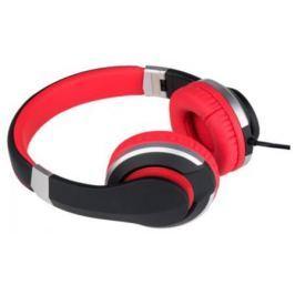 Наушники Deppa стерео с микрофоном XW-Street, накладные, черный/красный, Prime Line