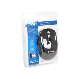 Беспроводная мышь SVEN RX-315 Wireless черная, BlueLED, 3+1(колесо прокрутки), 800/1200/1600 dpi, симметричная