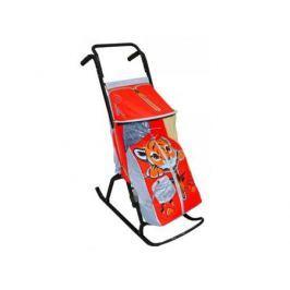 Санки-коляска RT Снегурочка 2-Р Тигренок до 50 кг сталь серый красный