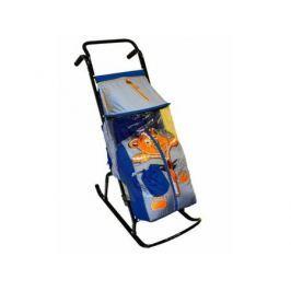 Санки-коляска RT Снегурочка 2-Р Медвежонок до 50 кг сталь синий серый
