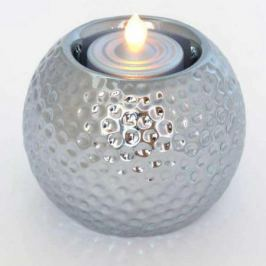 Подсвечник ШАР со свечой LED, 1 шт, 8*7,5 см, керамика, пластик, серебристый