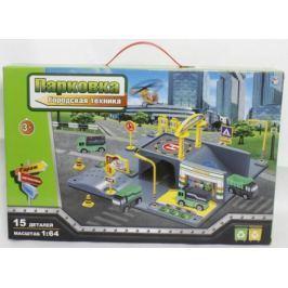 Парковка 1toy Городская техника, мастаб 1:64, 15 деталей, 2 машины, вертолёт, коробка