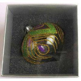 Украшение елочное шар ЛУКОВИЦА ПАВЛИН, прозрачный, зеленый с фиолетовым, 1 шт., 8 см, стекло