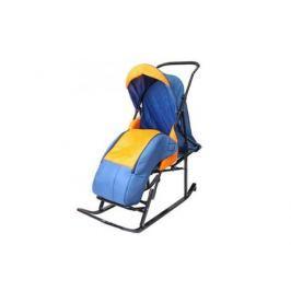 Санки-коляска RT Шустрик-Имго-6 на колесиках с горизонтальным положением спинки до 45 кг сталь синий