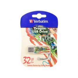 Флешка USB 32Gb Verbatim Mini Tattoo Dragon 49899 USB2.0 белый с узором