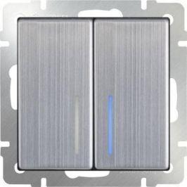 Выключатель двухклавишный проходной с подсветкой глянцевый никель WL02-SW-2G-2W-LED 4690389059223
