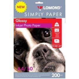 Фотобумага Lomond Simply A4 200г/м2 50л белый глянцевое покрытие для струйной печати 0102147