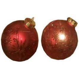 Набор шаров стеклянных блестящий, матовый с блестящей крошкой, 2 шт. в картонной коробке, 7 см, 5 цв