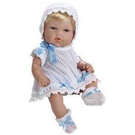 Пупс Arias 33 см, блондинка в бело-голубом вязаном платье, кор.