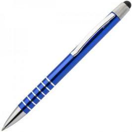Авторучка шариковая, 1,0мм, синий мет. корпус, серебристые детали, со стилусом, синие чернила