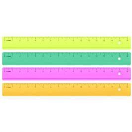 Линейка цветная, флюоресцентная, прозрачная, 4 цв., 16 см