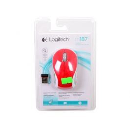 Мышь (910-002737) Logitech Wireless Mini Mouse M187, Red