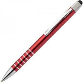 Авторучка шариковая, 1,0мм, красный мет. корпус, серебристые детали, со стилусом, синие чернила