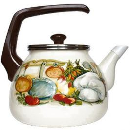 Чайник INTEROS 15157 Аппетит 3 л металл белый рисунок