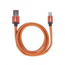 Кабель USB Type-C-USB, 1 метр, 2,5 A, мет. коннекторы, зарядка и синхронизация, оплетка из экокожи RITMIX RCC-435 Leather