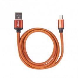 Кабель MicroUSB-USB, 1 метр, 2,5 A, мет. коннекторы, зарядка и синхронизация, оплетка из экокожи RITMIX RCC-415 Leather