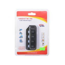 Концентратор USB3.0 HUB 4 порта ORIENT BC-306, черный, с выключателями, ret