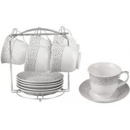 Чайный набор Bekker BK-6804 0.220 л керамика белый рисунок серебристый
