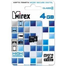Карта памяти Micro SDHC 4GB Class 4 Mirex 13612-MCROSD04