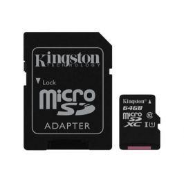 Карта памяти MicroSDXC 64GB Kingston Canvas Select 80R CL10 UHS-ISP с адаптером (SDCS/64GB)