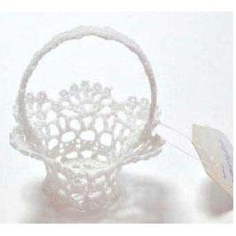 Украшение декоративное вязаное КОРЗИНКА, 1 шт., 8*9 см., хлопок., белый, в пакете