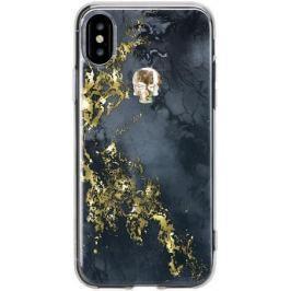 Чехол Bling My Thing для iPhone X, с кристаллами Swarovski. Коллекция Tresure Onyx. Дизайн Gold Skul