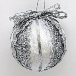 Украшение елочное ШАР БЕЛО-СЕРЕБРЯНЫЙ, 7 см,полимерный материал