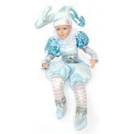 Украшение декоративное ШУТ в голубом костюме, 35 см, керамика, полиэстр, 1 шт