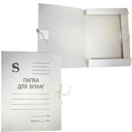 Папка на завязках, белая, с приклеенными клапанами, в коробе, 0,35 мм(220г/м2)