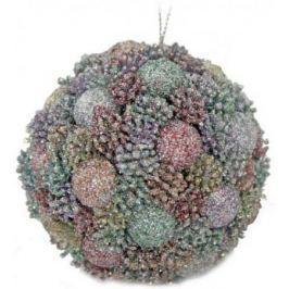 Шар ЯГОДКИ, блестящая крошка, 8 см, 1 шт. в прозрачной коробке, 3 цв., серебристый, шампань, красный