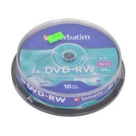 DVD-RW Verbatim 4.7Gb 4x 10шт Cake Box
