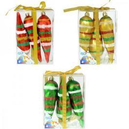 Набор украшений елочных СОСУЛЬКИ, с блестящей крошкой, 3 шт. в прозрачной коробке , 15 см, 3 цв.